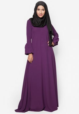 Jubah Qhadeeja Dark Purple